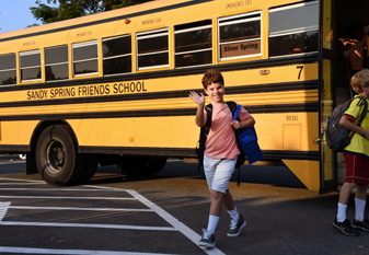 Student getting off the SSFS bus